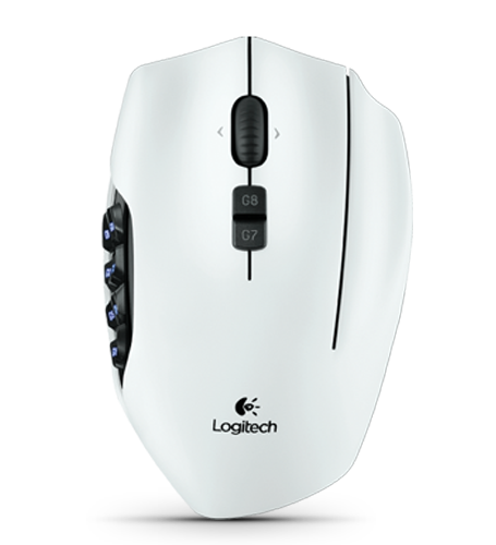 Logitech G600 Gaming Mouse Top View in White