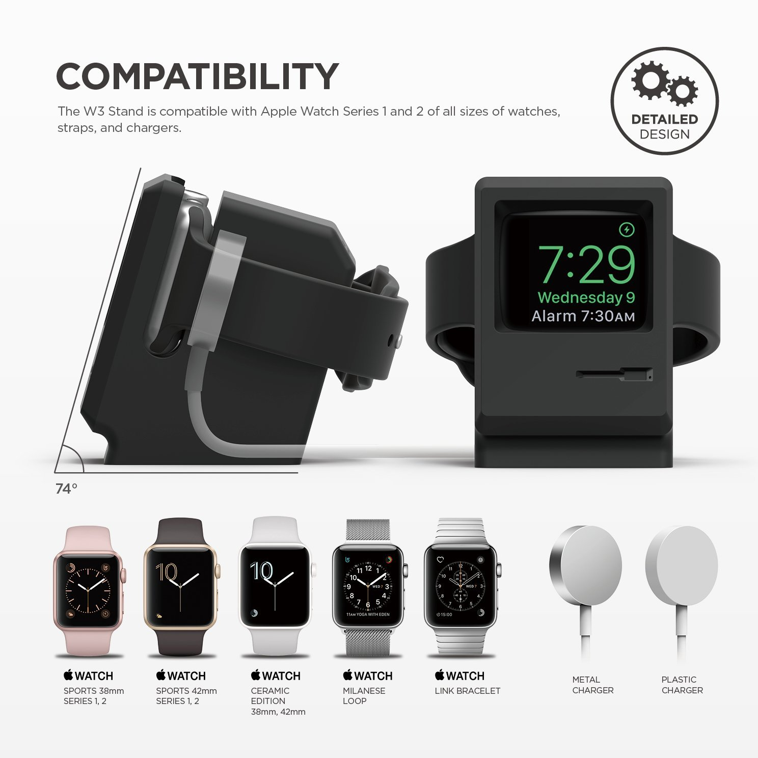 The Elago W3 Stand for Apple Watch is the perfect nightstand for your Apple Watch. The stand gives your Apple Watch the appearance of a classic 1984 Macintosh computer, but in Miniature. The perfect Apple Watch charger and bedside alarm clock in one!